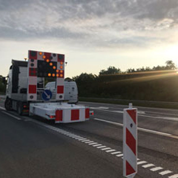 Traffic deviations for marking works on motorways in Denmark